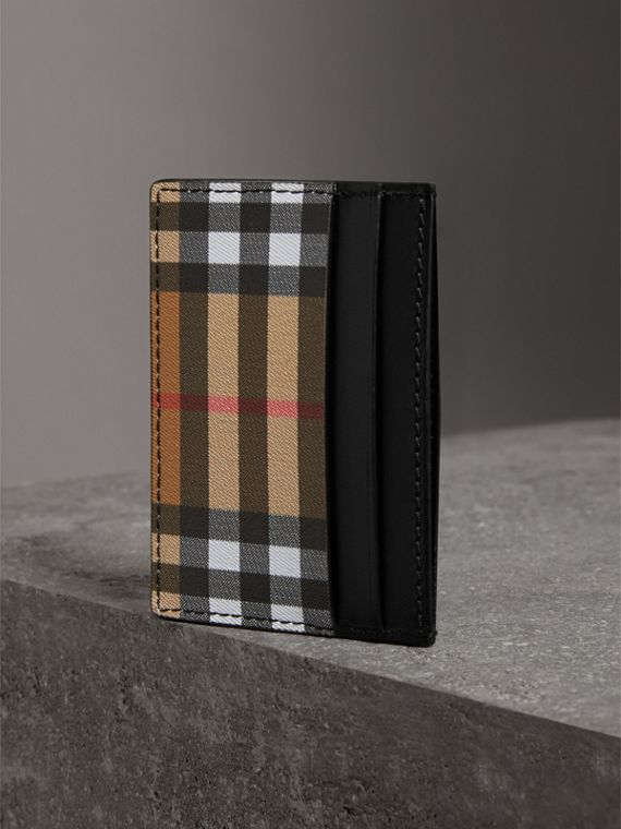 Vintage Check and Leather Card Case in Black | Burberry - cell image 2