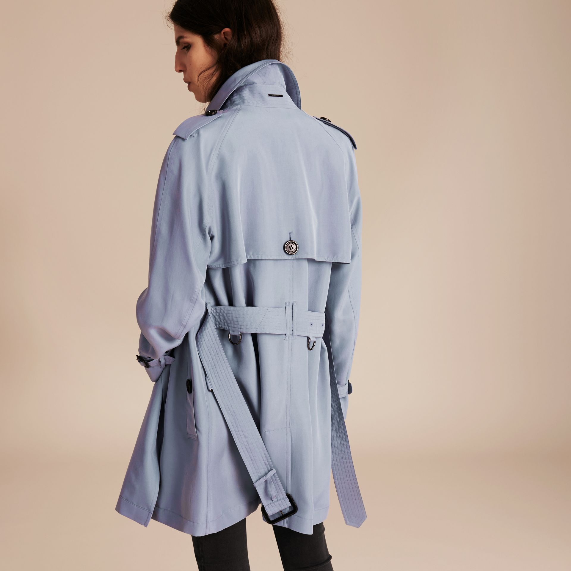 Pale blue Lightweight Slub Silk Wrap Trench Coat - gallery image 3