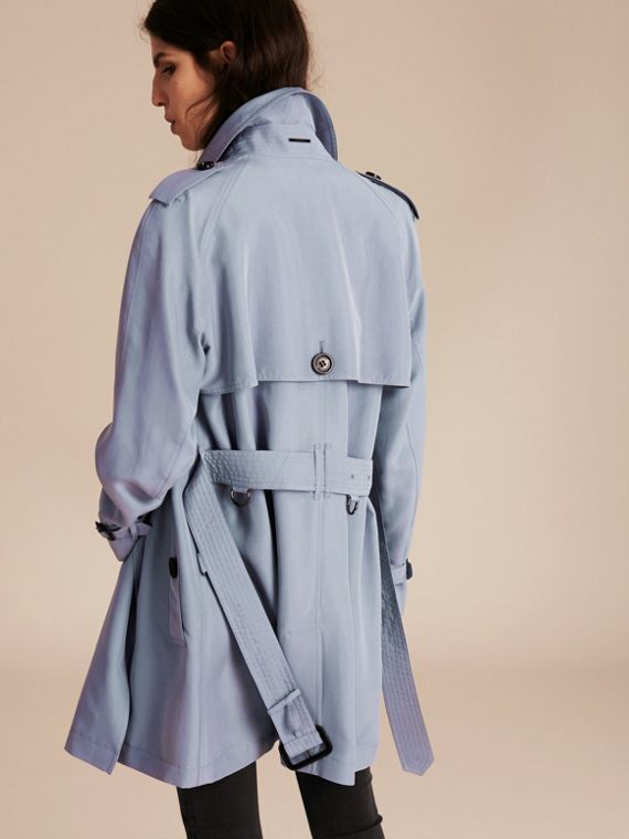 Pale blue Lightweight Slub Silk Wrap Trench Coat - cell image 2