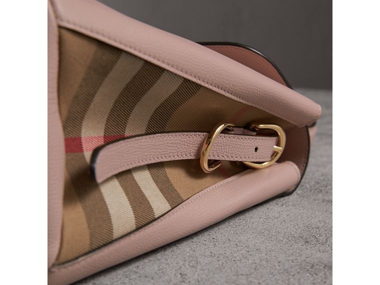 Medium Grainy Leather and House Check Tote Bag in Pale Orchid - Women | Burberry United Kingdom - cell image 1