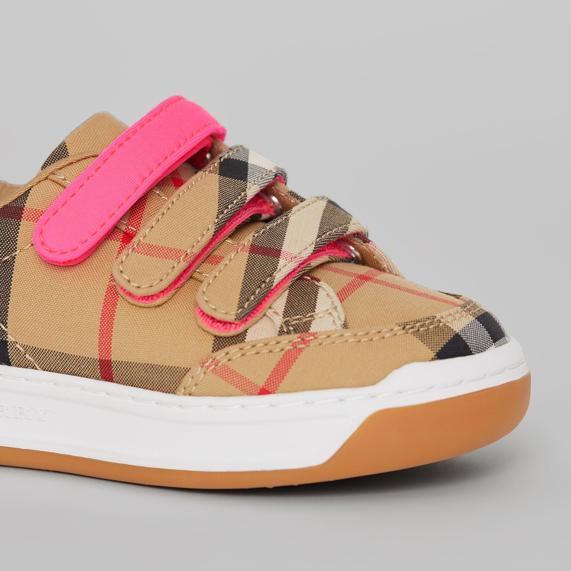 Vintage Check Sneakers in Antique Yellow/neon Pink - Children | Burberry - gallery image 1