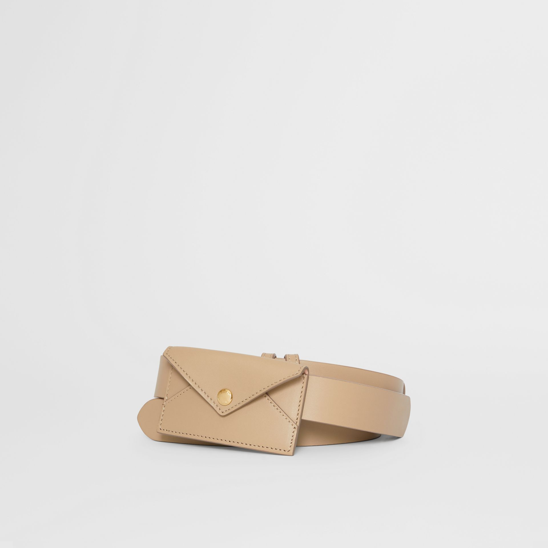Envelope Detail Leather Belt in Latte - Women | Burberry Hong Kong S.A.R - gallery image 0