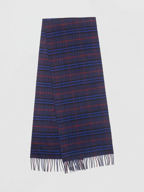 The Classic Vintage Check Cashmere Scarf in Bright Navy