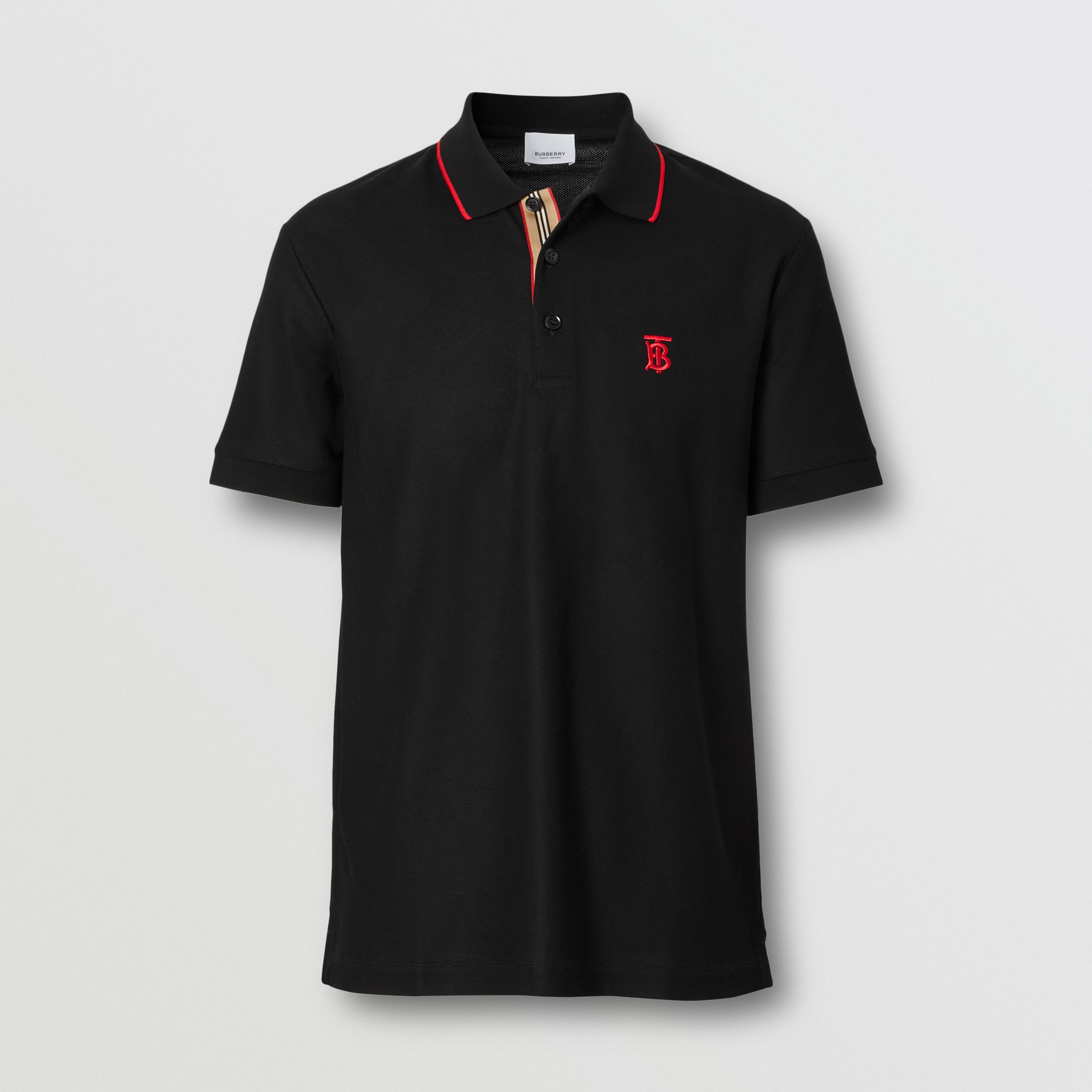 Icon Stripe Placket Cotton Piqué Polo Shirt in Black - Men | Burberry - 4