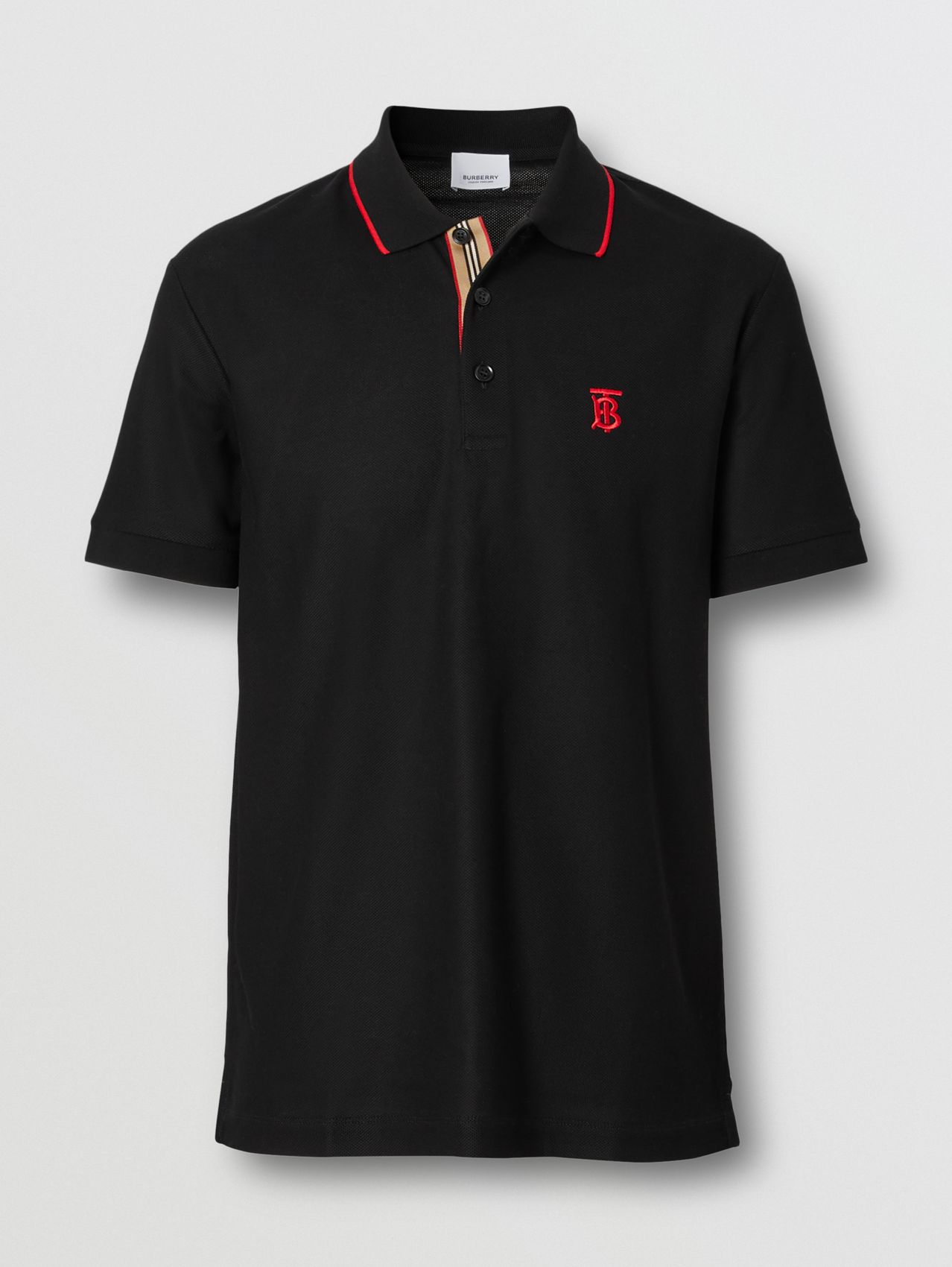 Icon Stripe Placket Cotton Piqué Polo Shirt (Black)