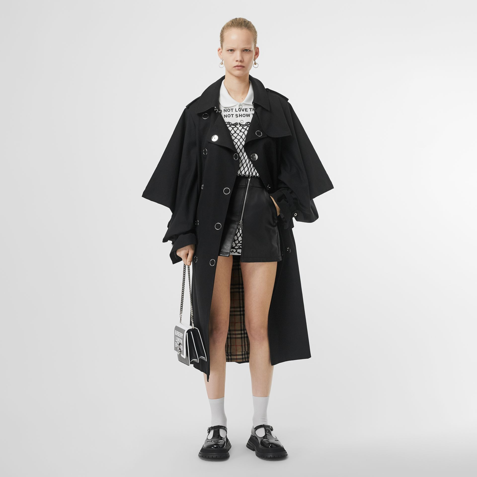 Cape-style Sleeve Cotton Gabardine Trench Coat in Black - Women | Burberry Singapore - gallery image 0