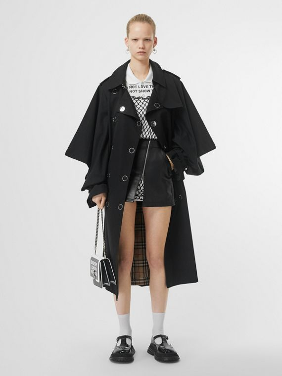 Cape-style Sleeve Cotton Gabardine Trench Coat in Black
