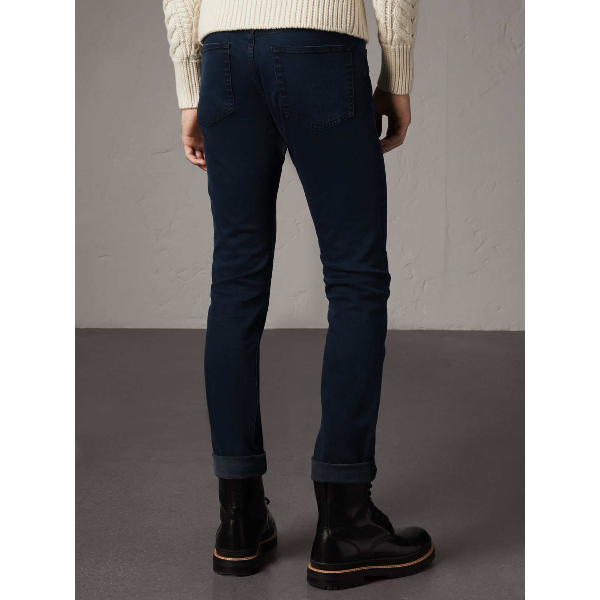 Straight Fit Indigo Stretch Jeans in Dark - Men | Burberry - gallery image 2