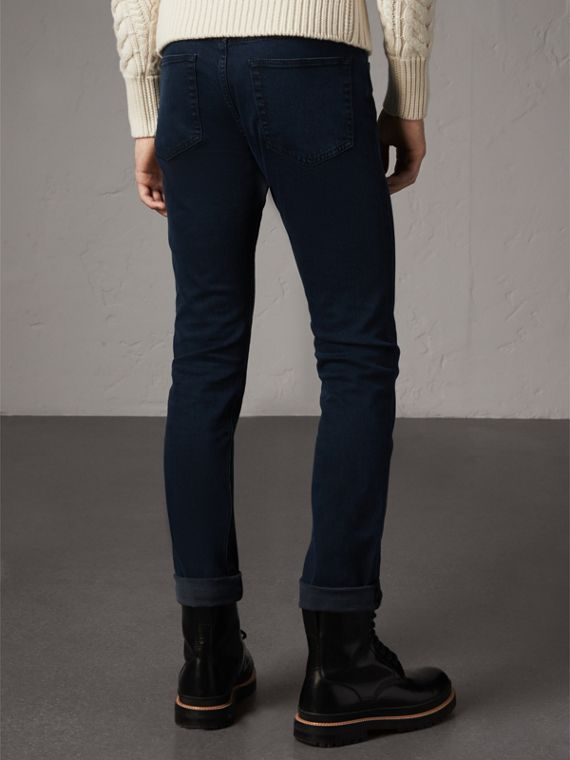 Straight Fit Indigo Stretch Jeans in Dark - Men | Burberry United Kingdom - cell image 2