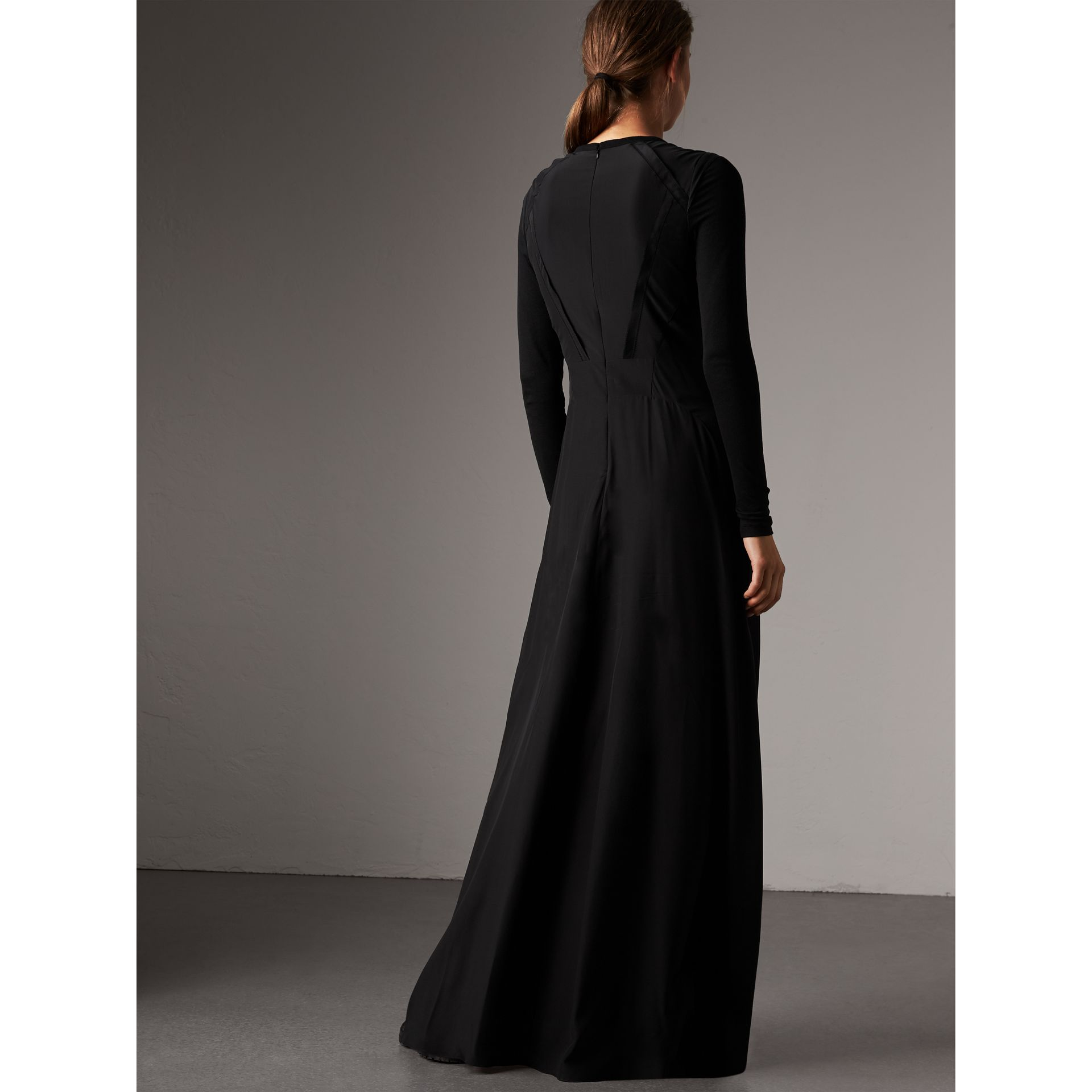 Silk Floor-length Gathered Dress in Black - Women | Burberry Australia - gallery image 3