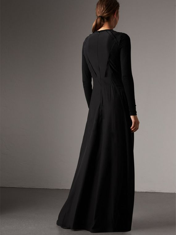 Silk Floor-length Gathered Dress in Black - Women | Burberry Singapore - cell image 2