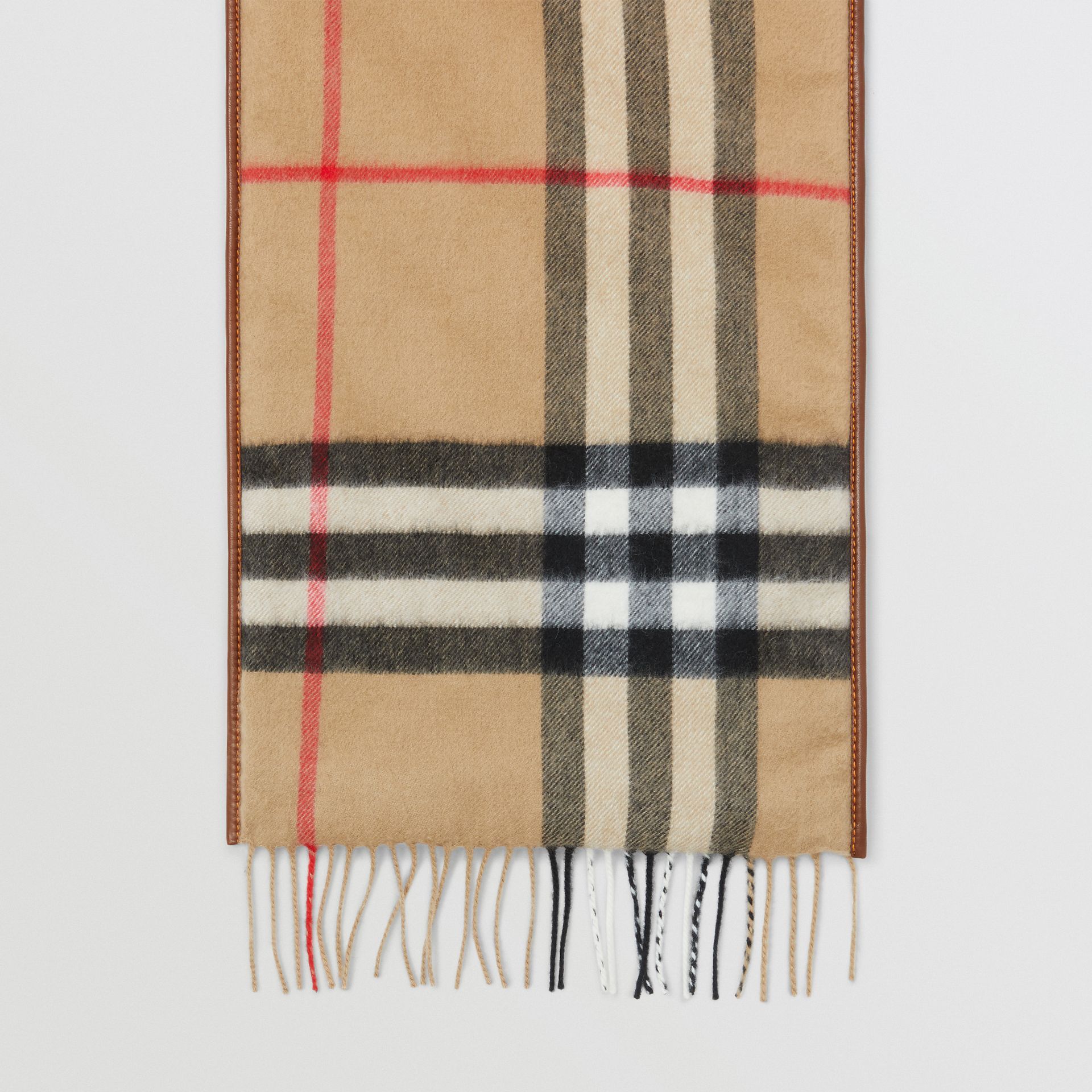 Lambskin Trim Vintage Check Cashmere Scarf in Dark Camel | Burberry - gallery image 2