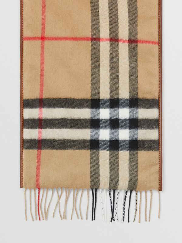 Lambskin Trim Vintage Check Cashmere Scarf in Dark Camel | Burberry - cell image 2