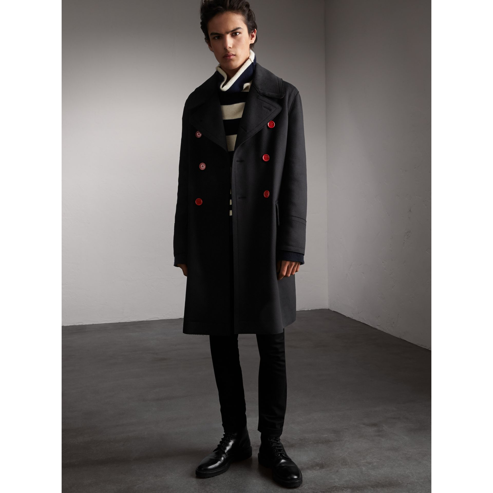 Resin Button Wool Greatcoat in Black - Men | Burberry - gallery image 1