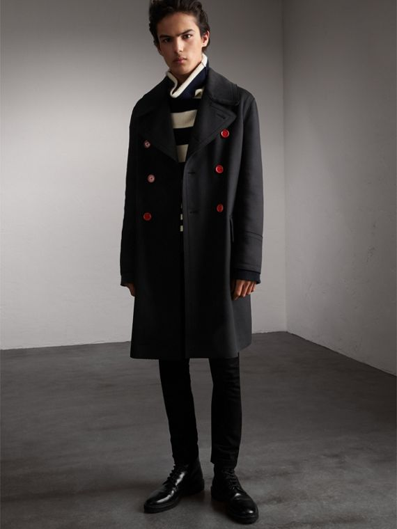 Resin Button Wool Greatcoat in Black