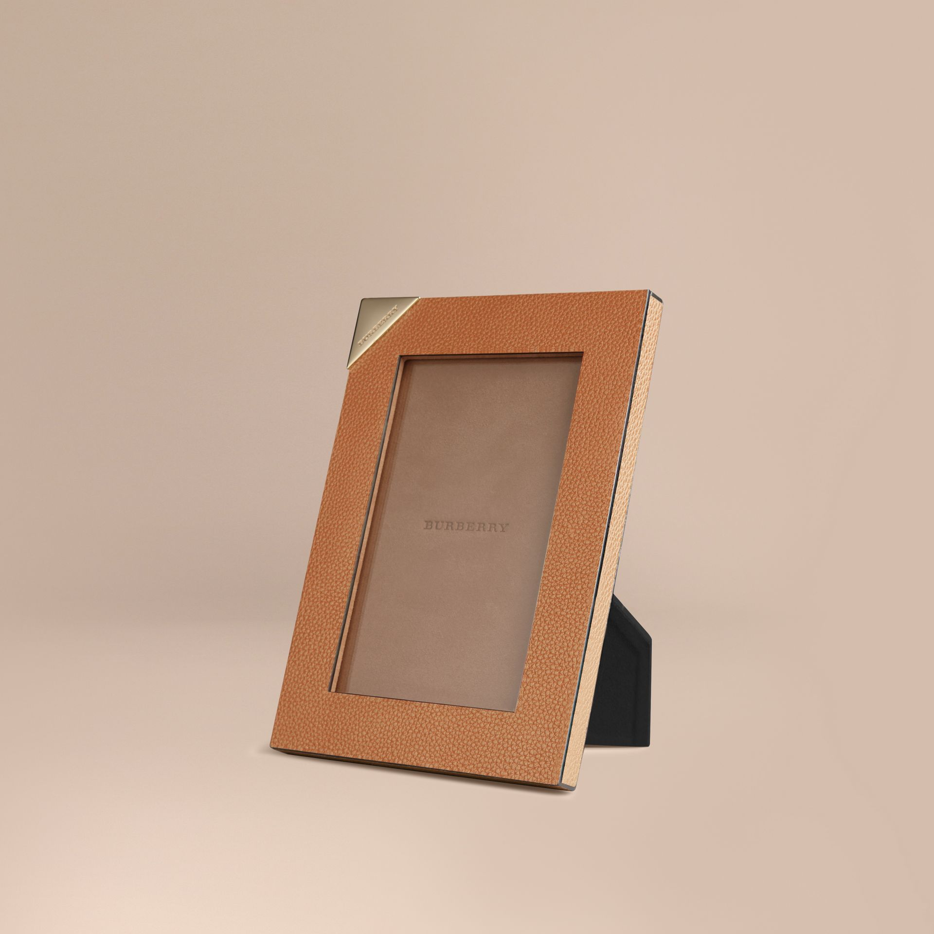 Tan Small Grainy Leather Picture Frame - gallery image 1