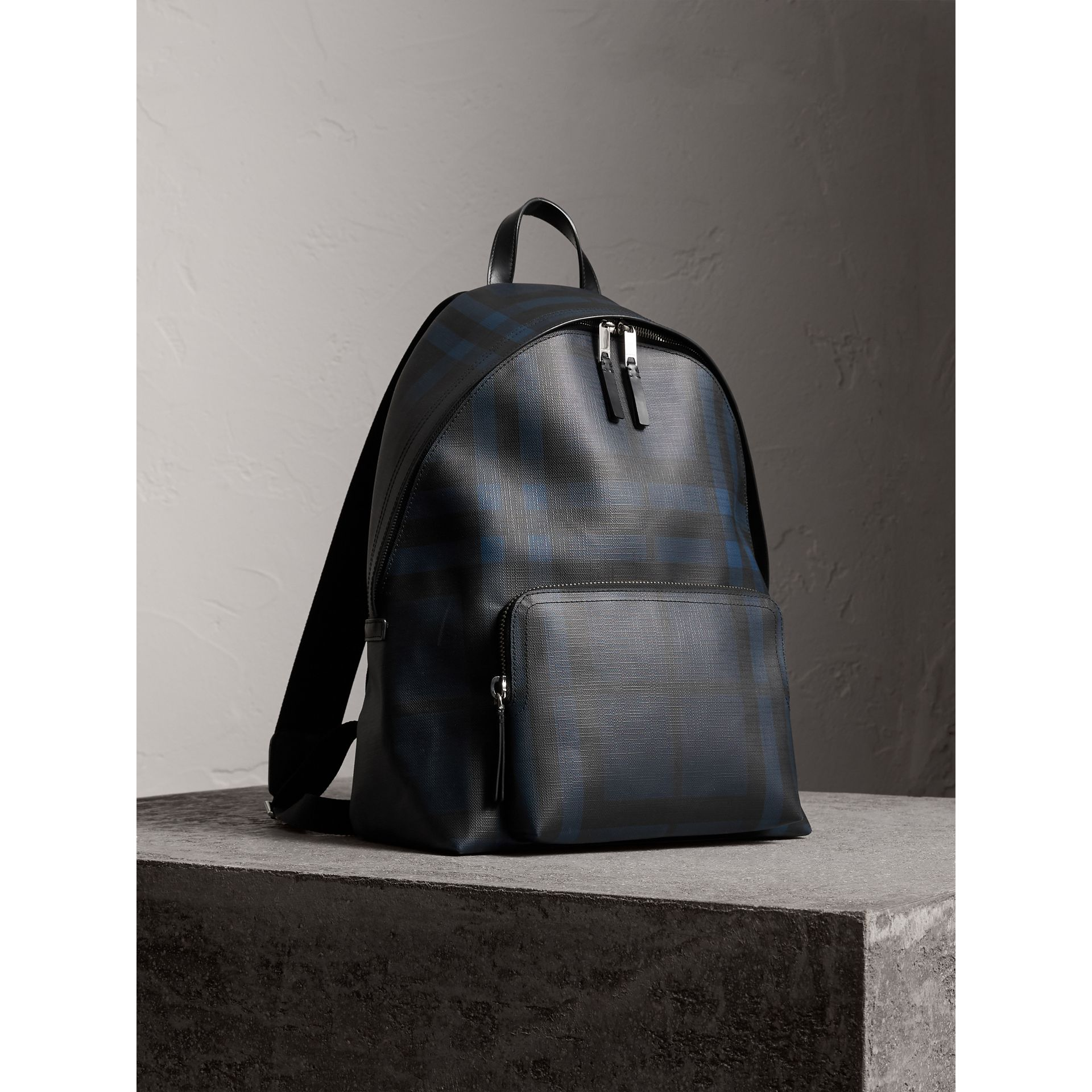 Leather Trim London Check Backpack in Navy/black - Men | Burberry - gallery image 6