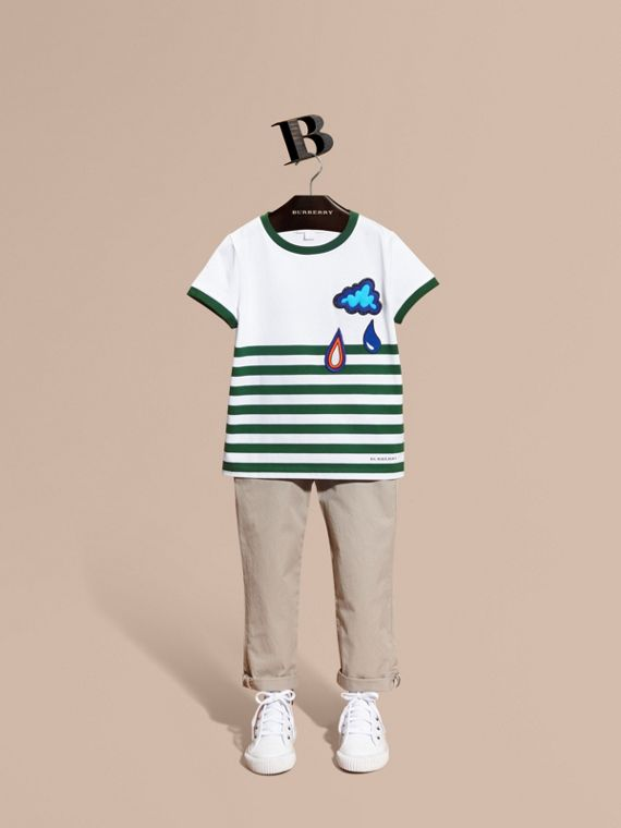 Striped Cotton T-shirt with Appliqués