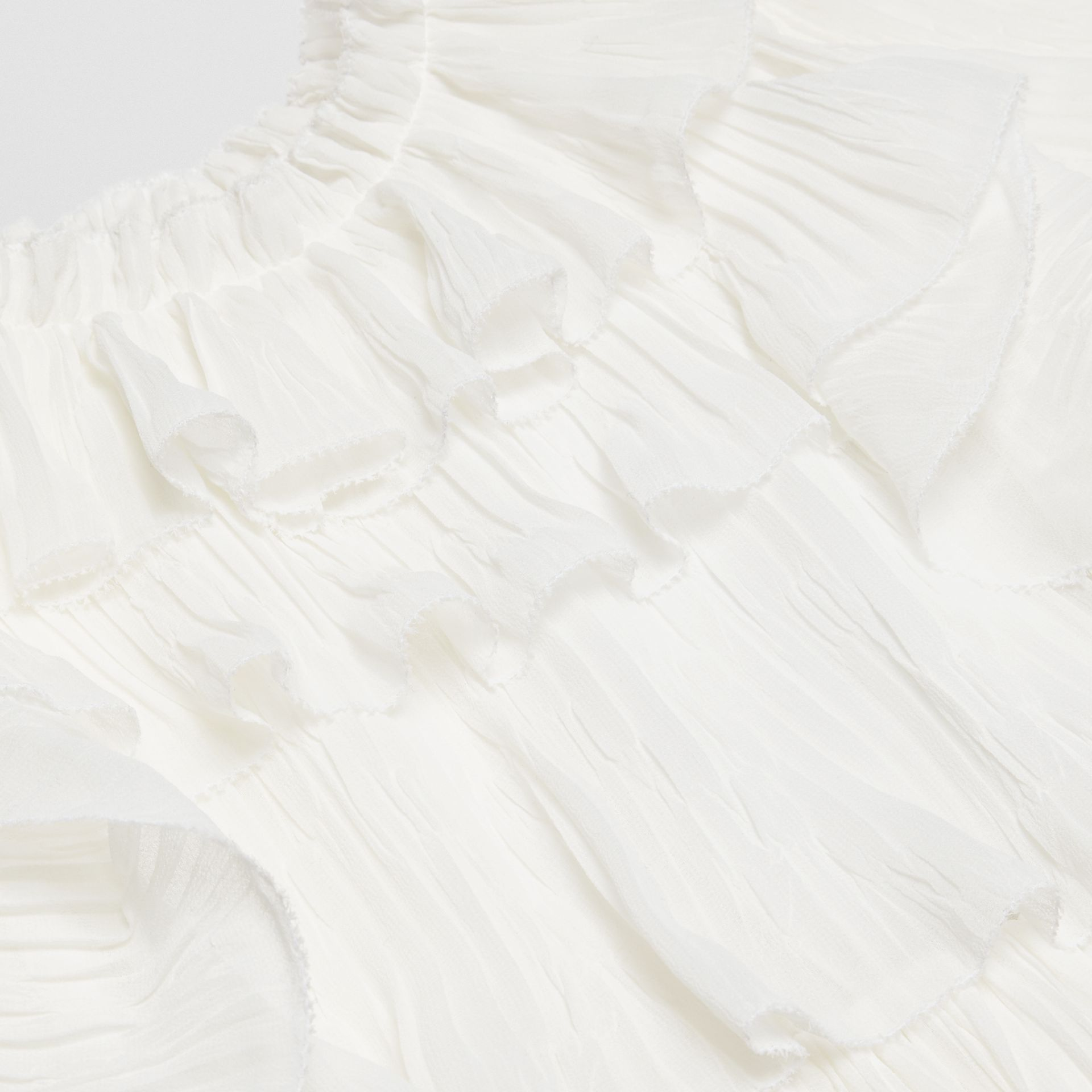 Ruffle Detail Plissé Voile Dress in Natural White | Burberry - gallery image 1