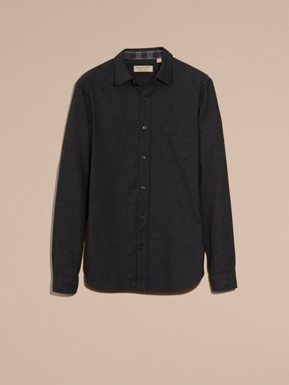 Check Detail Cotton Flannel Shirt Charcoal Melange - cell image 3