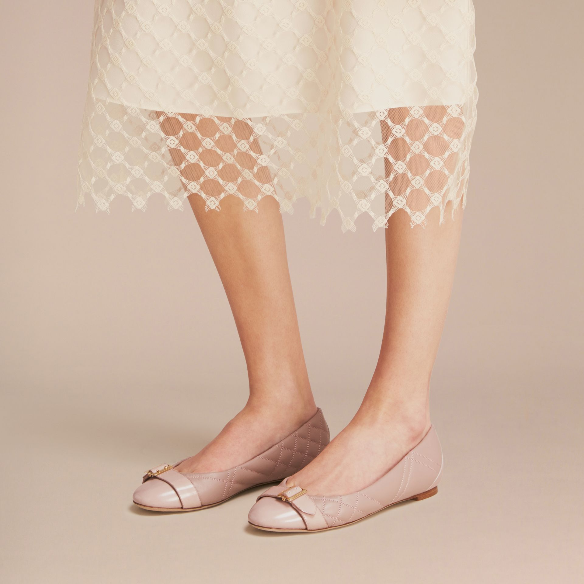 Buckle Detail Quilted Lambskin Leather Ballerinas in Ivory Pink - Women | Burberry - gallery image 3