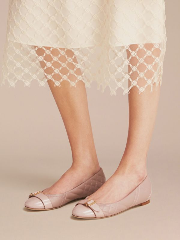 Buckle Detail Quilted Lambskin Leather Ballerinas in Ivory Pink   Burberry United States - cell image 2