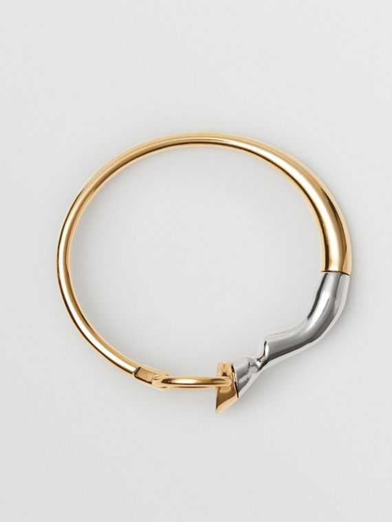 Gold and Palladium-plated Hoof and Hoop Bracelet in Light Gold/palladium