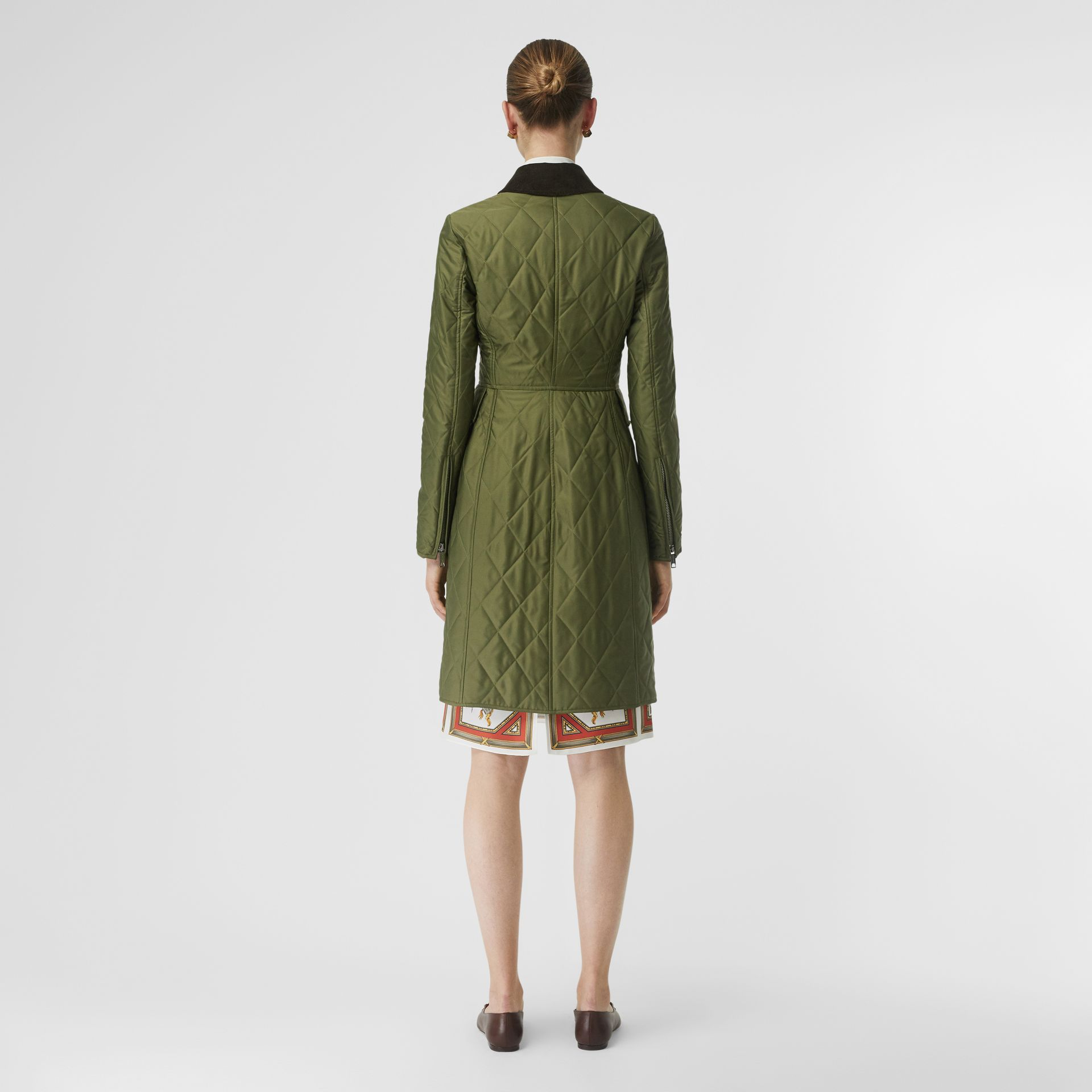 Monogram Motif Quilted Riding Coat in Utility Green - Women | Burberry - gallery image 3