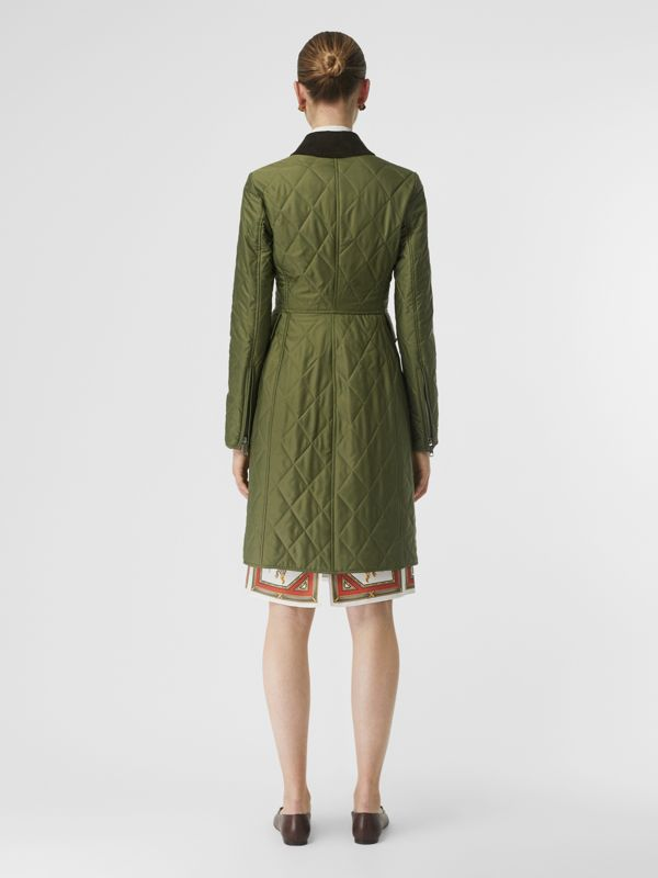 Monogram Motif Quilted Riding Coat in Utility Green - Women | Burberry - cell image 3