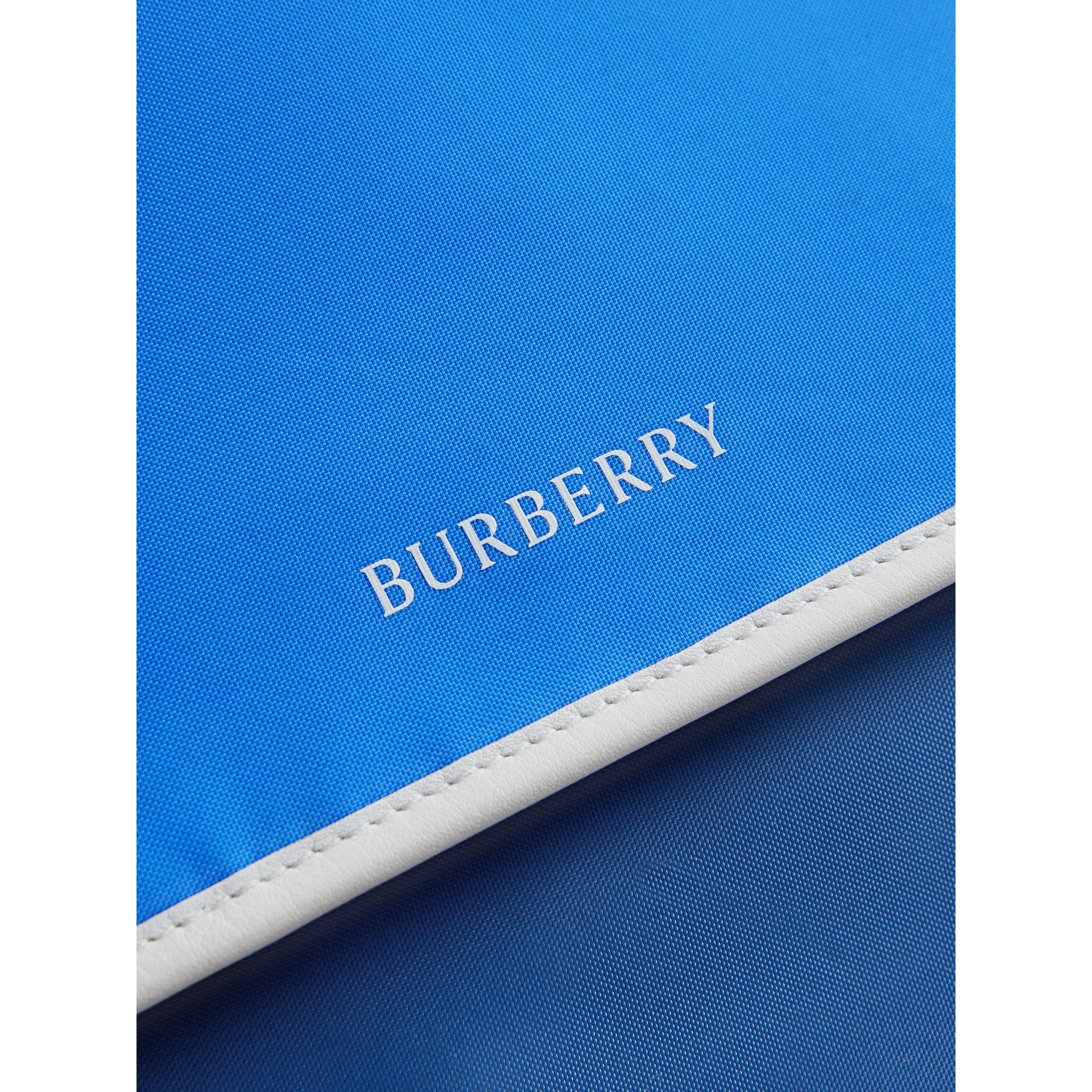 Large Tri-tone Nylon and Leather Messenger Bag in Deep Cerulean Blue - Men | Burberry Canada - gallery image 1