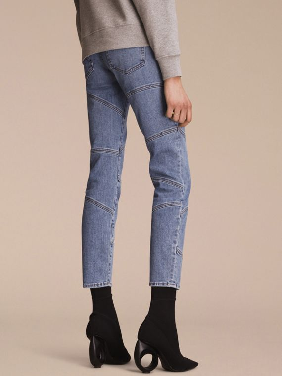 Slim Fit Seam Detail Japanese Denim Jeans - cell image 2