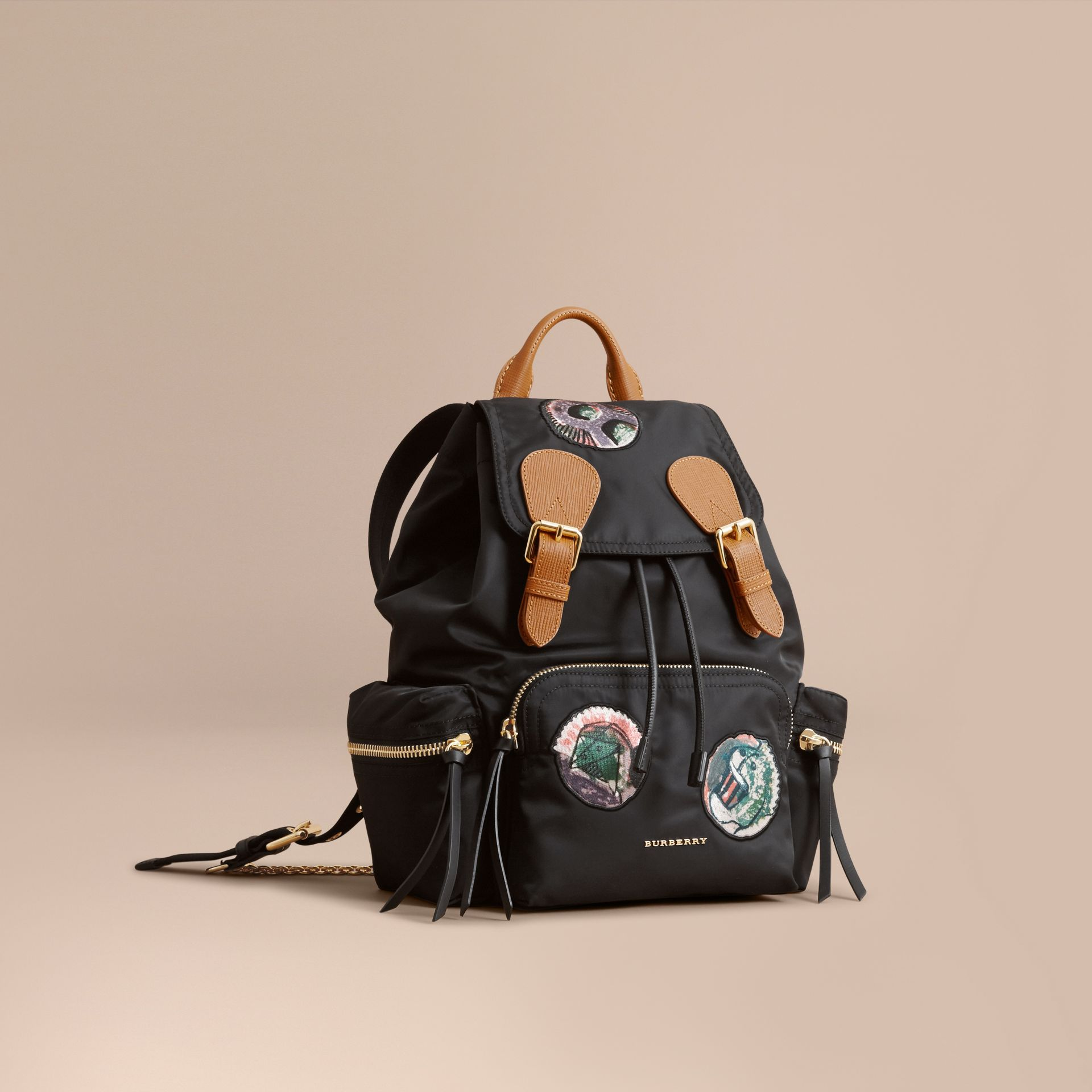 The Medium Rucksack in Technical Nylon with Pallas Heads Appliqué Black - gallery image 1