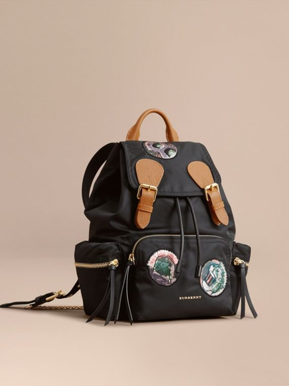 The Medium Rucksack in Technical Nylon with Pallas Heads Appliqué Black