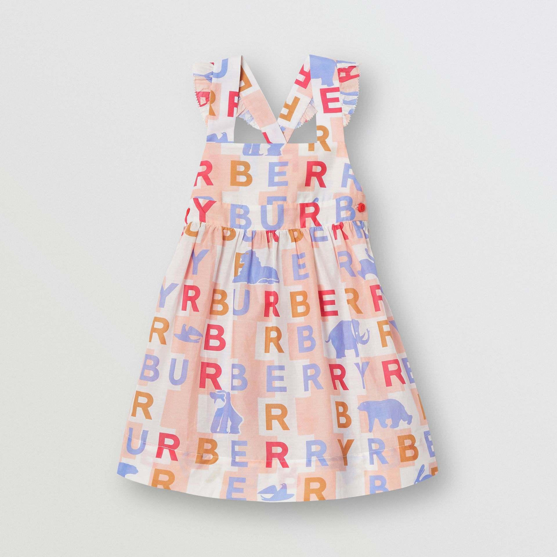 Ruffle Detail Logo Print Cotton Silk Dress in Pale Rose - Children | Burberry United Kingdom - gallery image 0