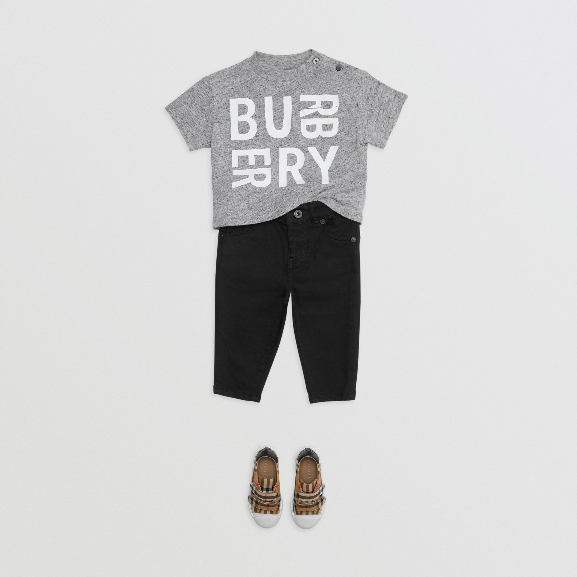 Logo Print Cotton Blend Jersey T-shirt in Grey Melange - Children | Burberry - gallery image 2