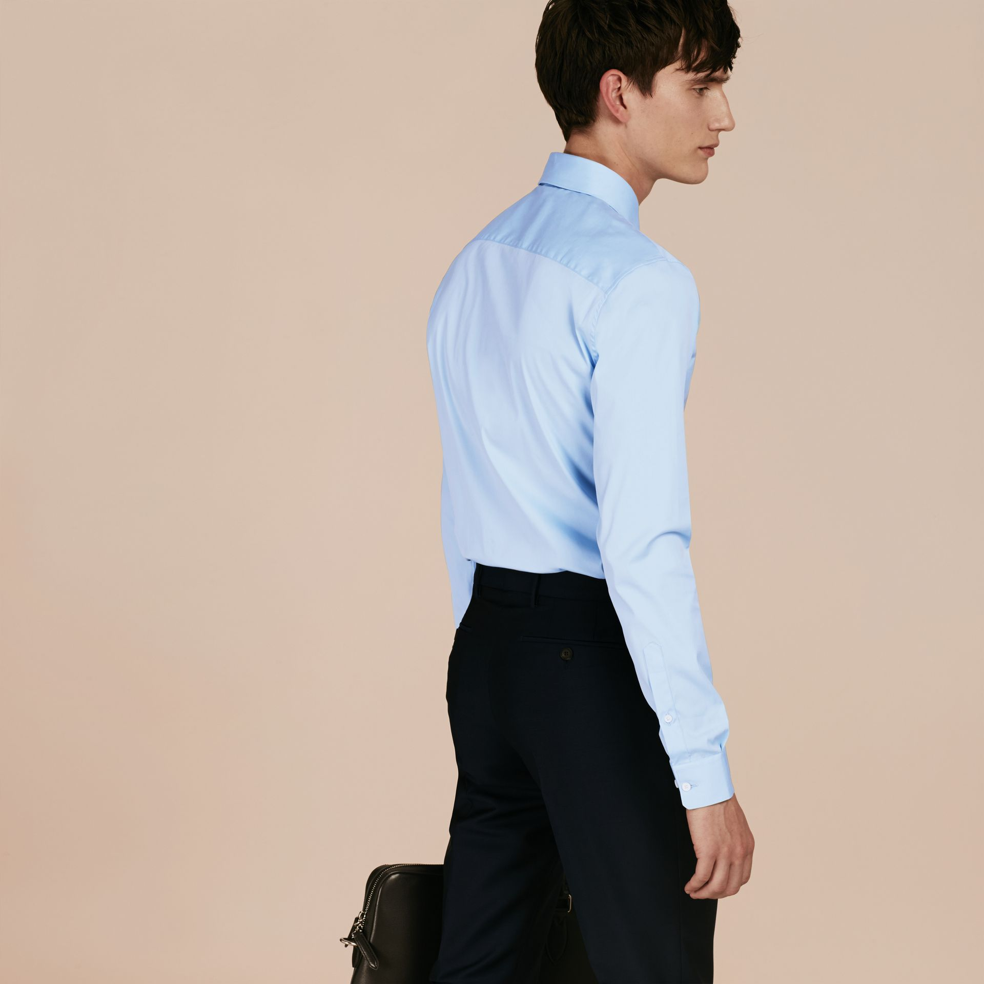 Slim Fit Stretch Cotton Shirt in City Blue - gallery image 3