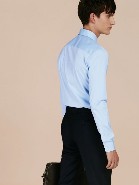Slim Fit Stretch Cotton Shirt in City Blue - Men | Burberry Hong Kong - cell image 2