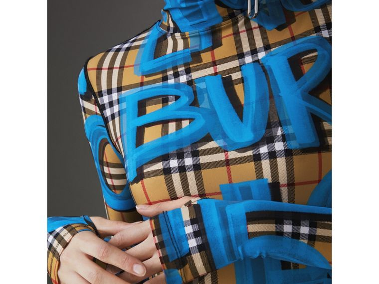 Graffiti Vintage Check Jersey Turtleneck Bodysuit in Bright Blue - Women | Burberry United States - cell image 1