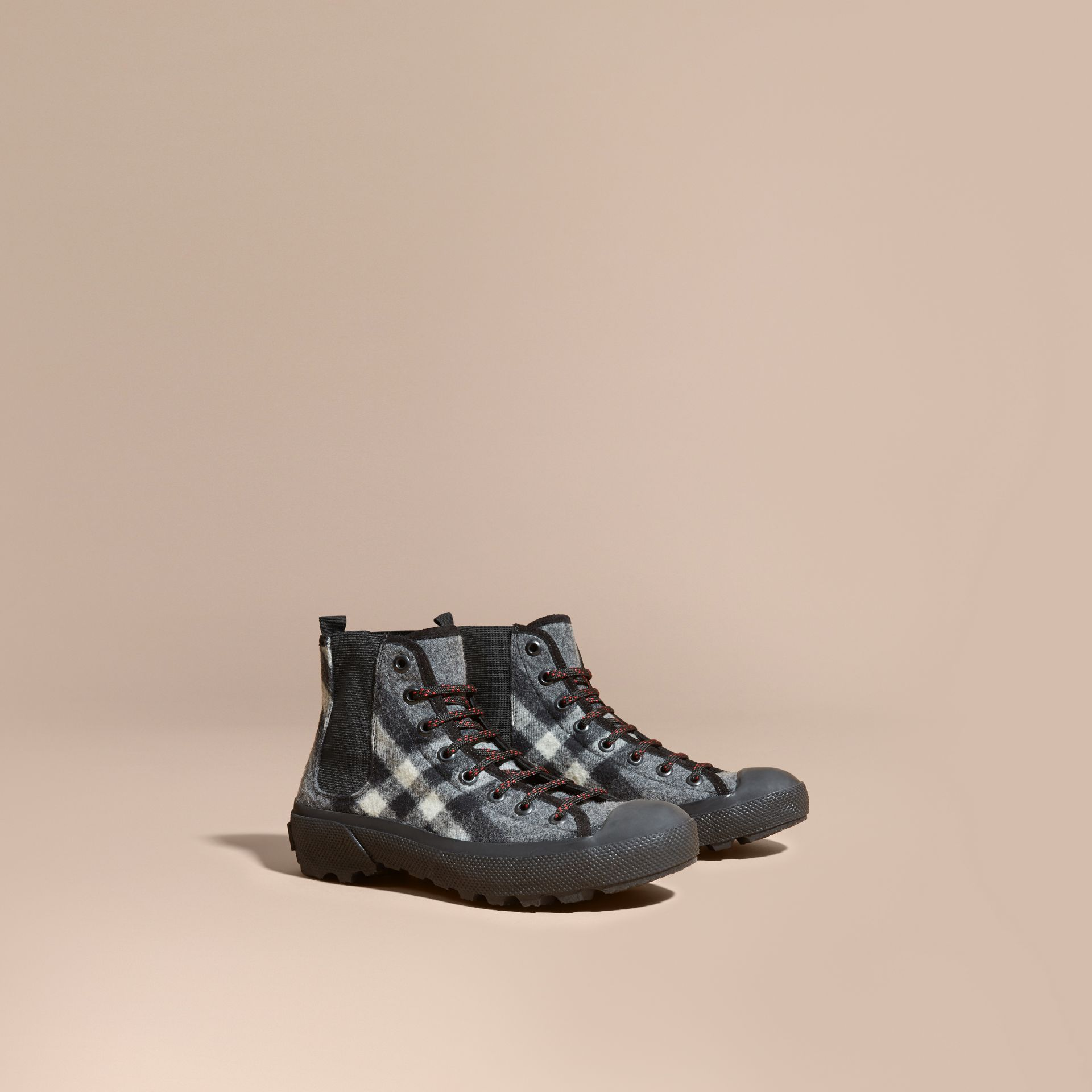 Check Technical Wool and Vulcanised Rubber Boots in Dark Grey - gallery image 1