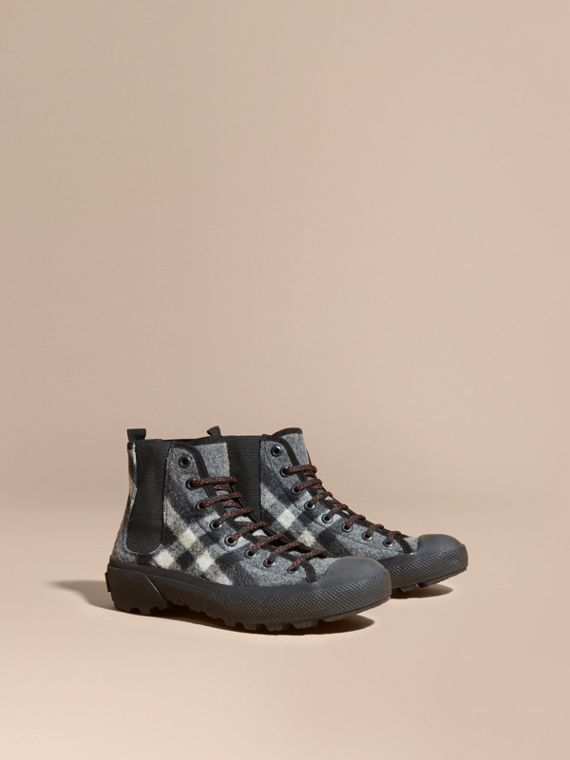 Check Technical Wool and Vulcanised Rubber Boots Dark Grey