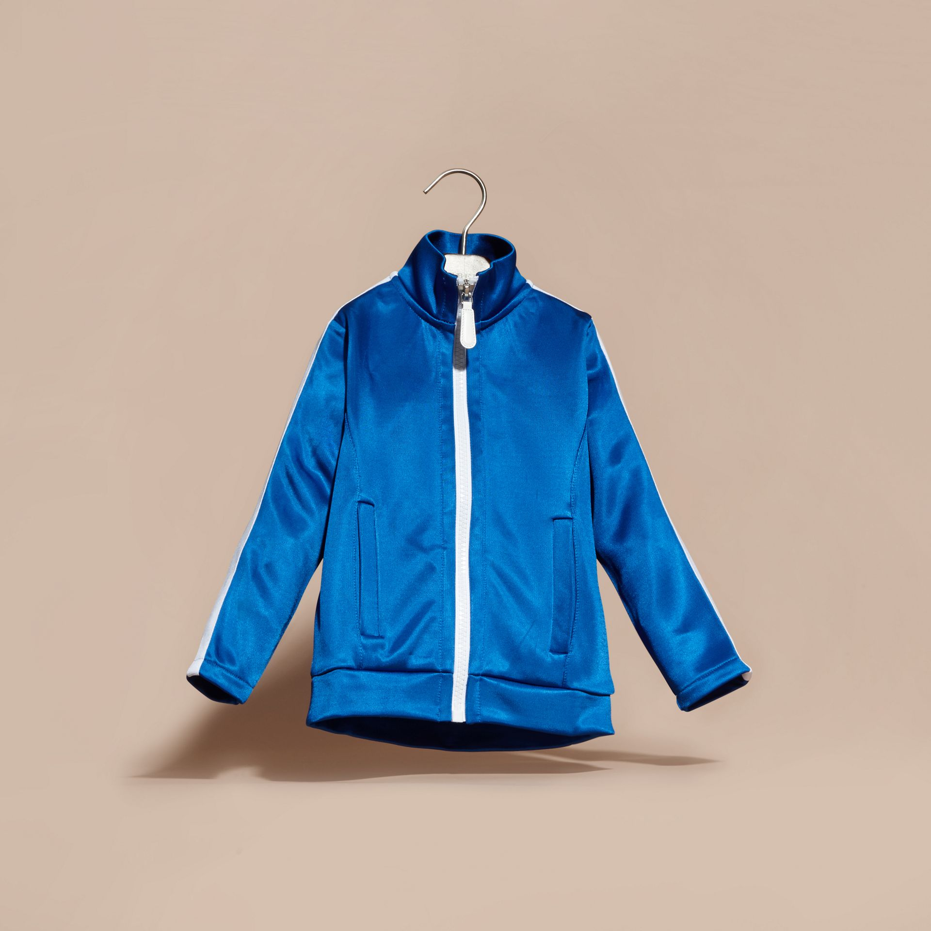 High-shine Technical Track Jacket in Atlantic Blue - gallery image 3