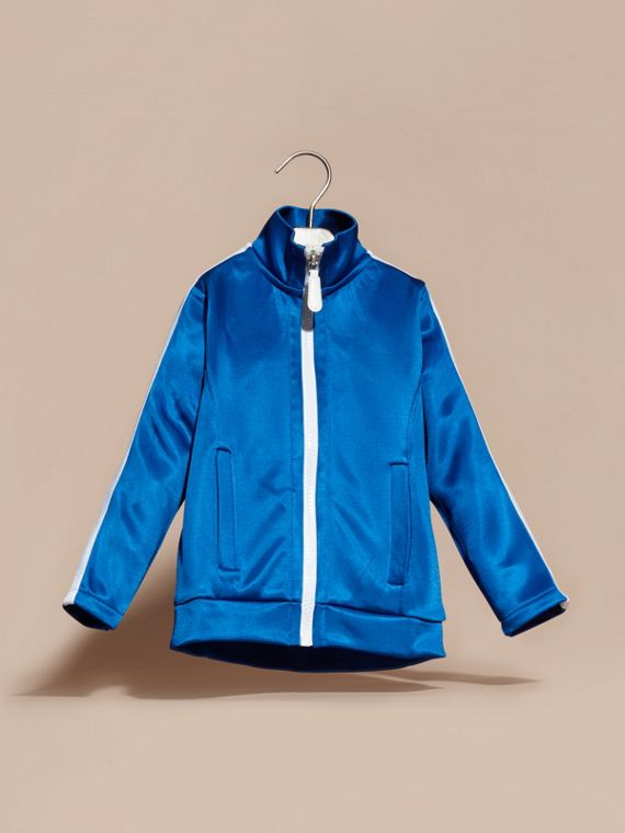 High-shine Technical Track Jacket in Atlantic Blue - cell image 2