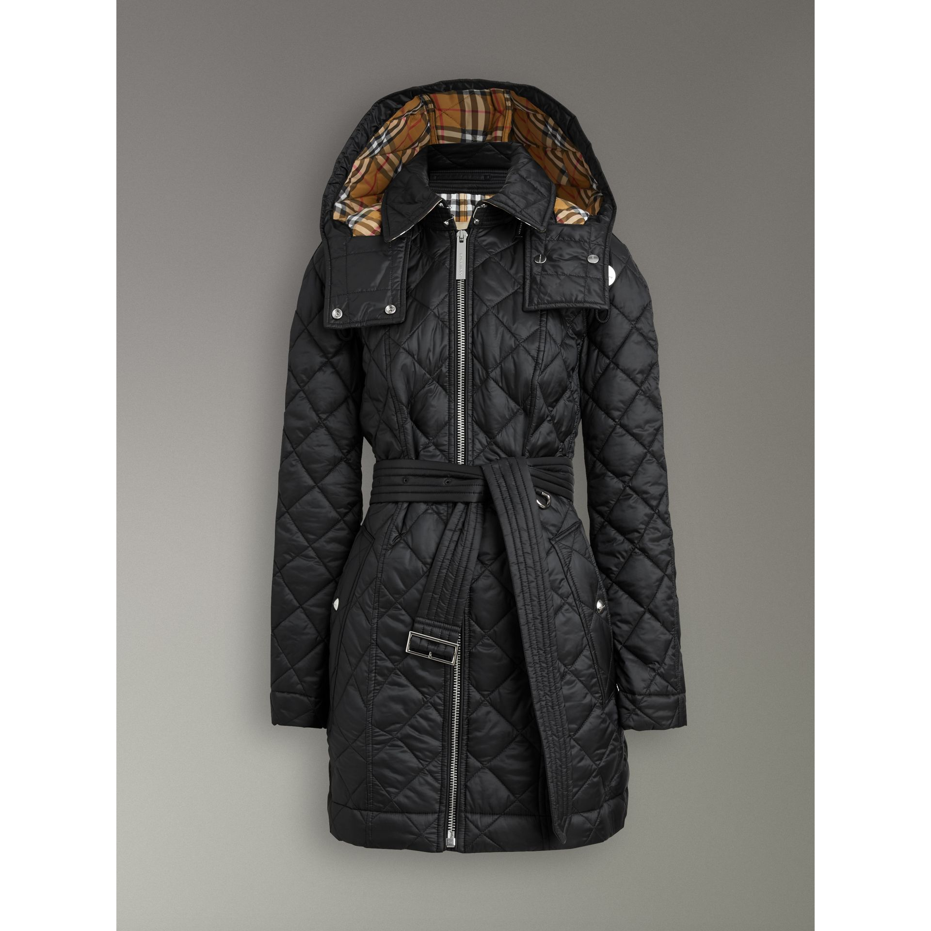 Detachable Hood Lightweight Diamond Quilted Coat in Black - Women | Burberry - gallery image 3