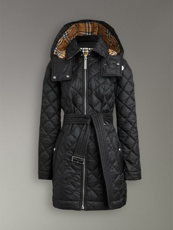 Detachable Hood Lightweight Diamond Quilted Coat in Black - Women | Burberry United States - cell image 3