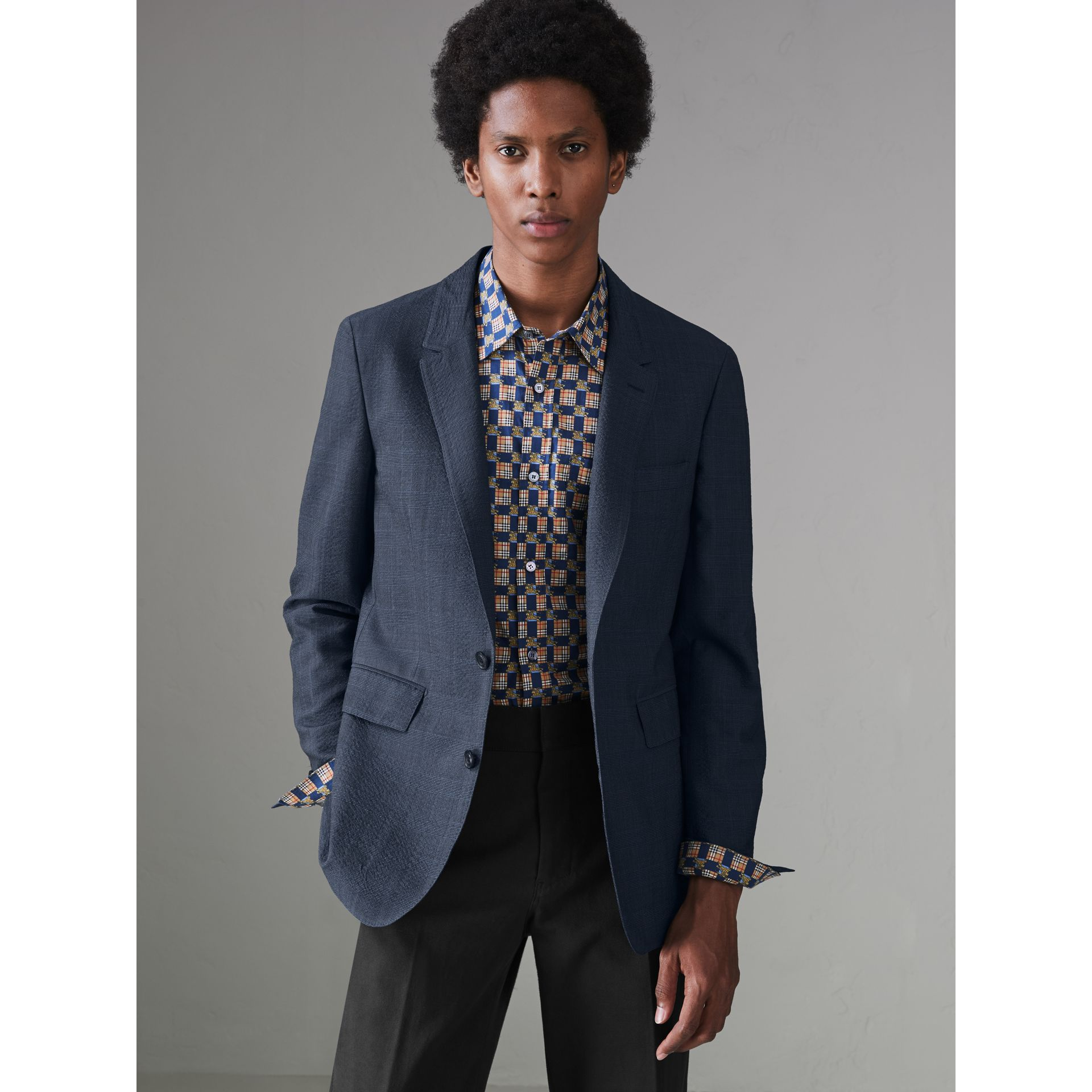 Windowpane Stretch Wool Tailored Jacket in Bright Navy - Men | Burberry - gallery image 4