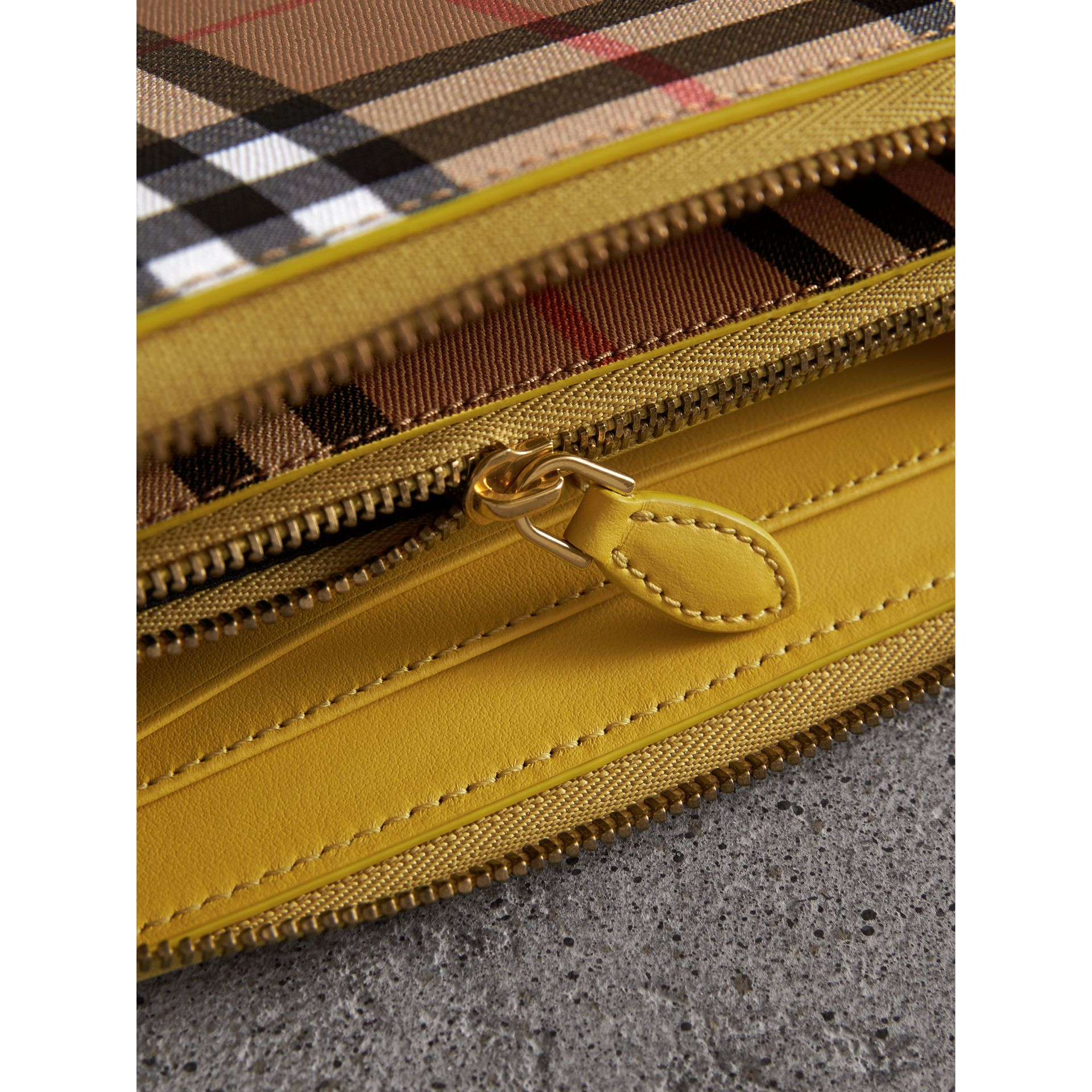 Vintage Check and Leather Ziparound Wallet in Bright Larch Yellow - Women | Burberry Singapore - gallery image 1