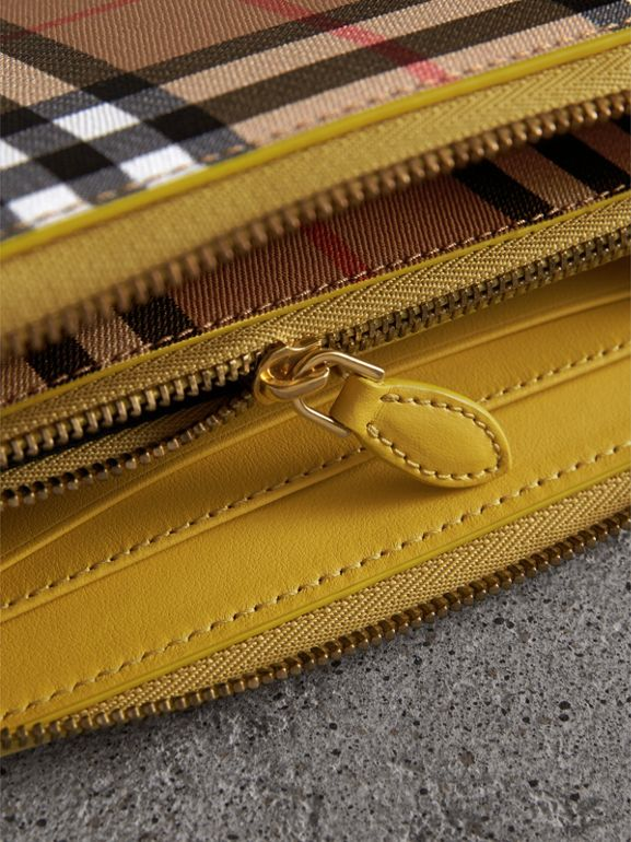 Vintage Check and Leather Ziparound Wallet in Bright Larch Yellow - Women | Burberry Canada - cell image 1