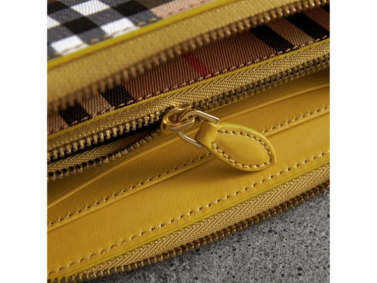 Vintage Check and Leather Ziparound Wallet in Bright Larch Yellow - Women | Burberry United Kingdom - cell image 1