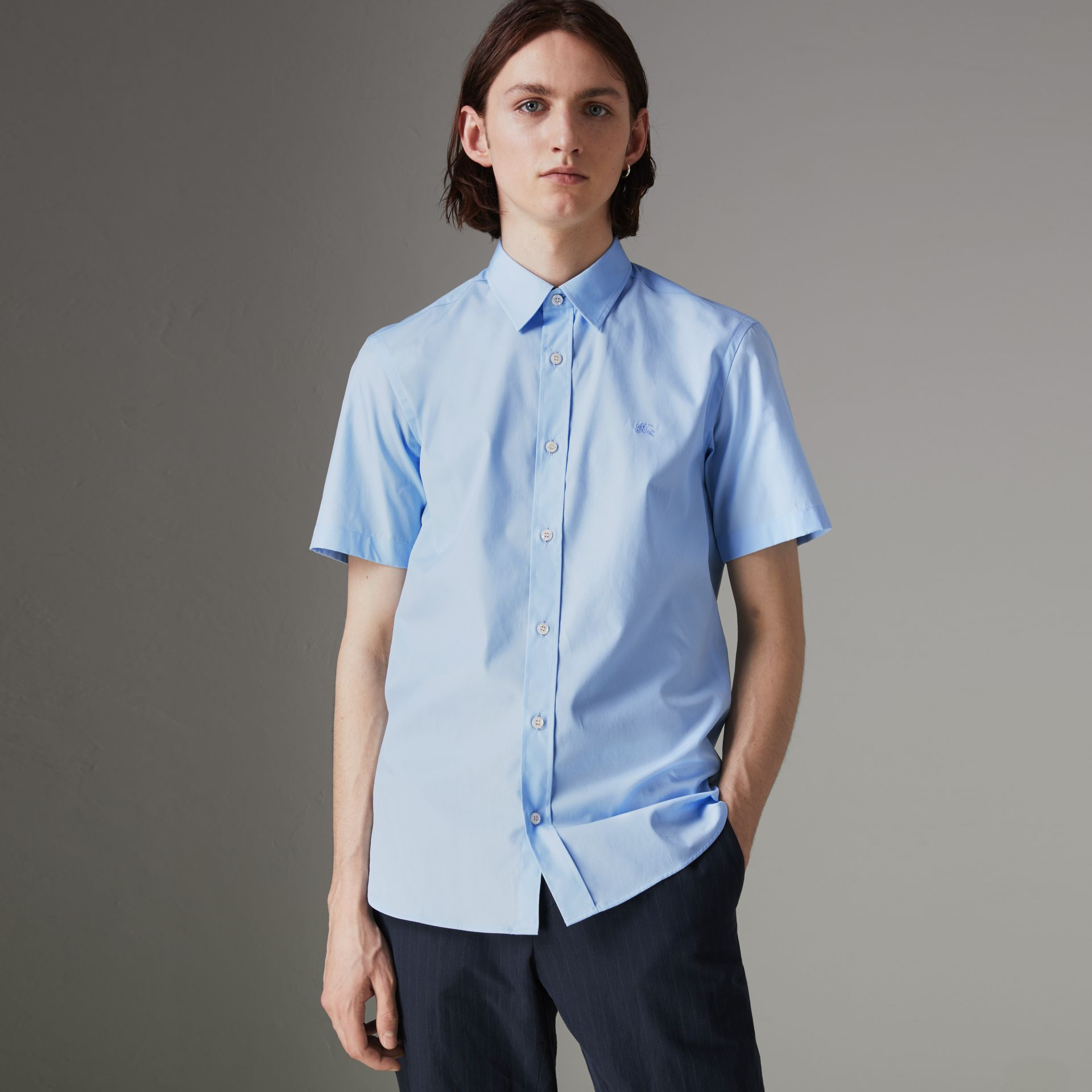 Short-sleeve Stretch Cotton Shirt in Pale Blue - Men | Burberry United Kingdom - gallery image 0