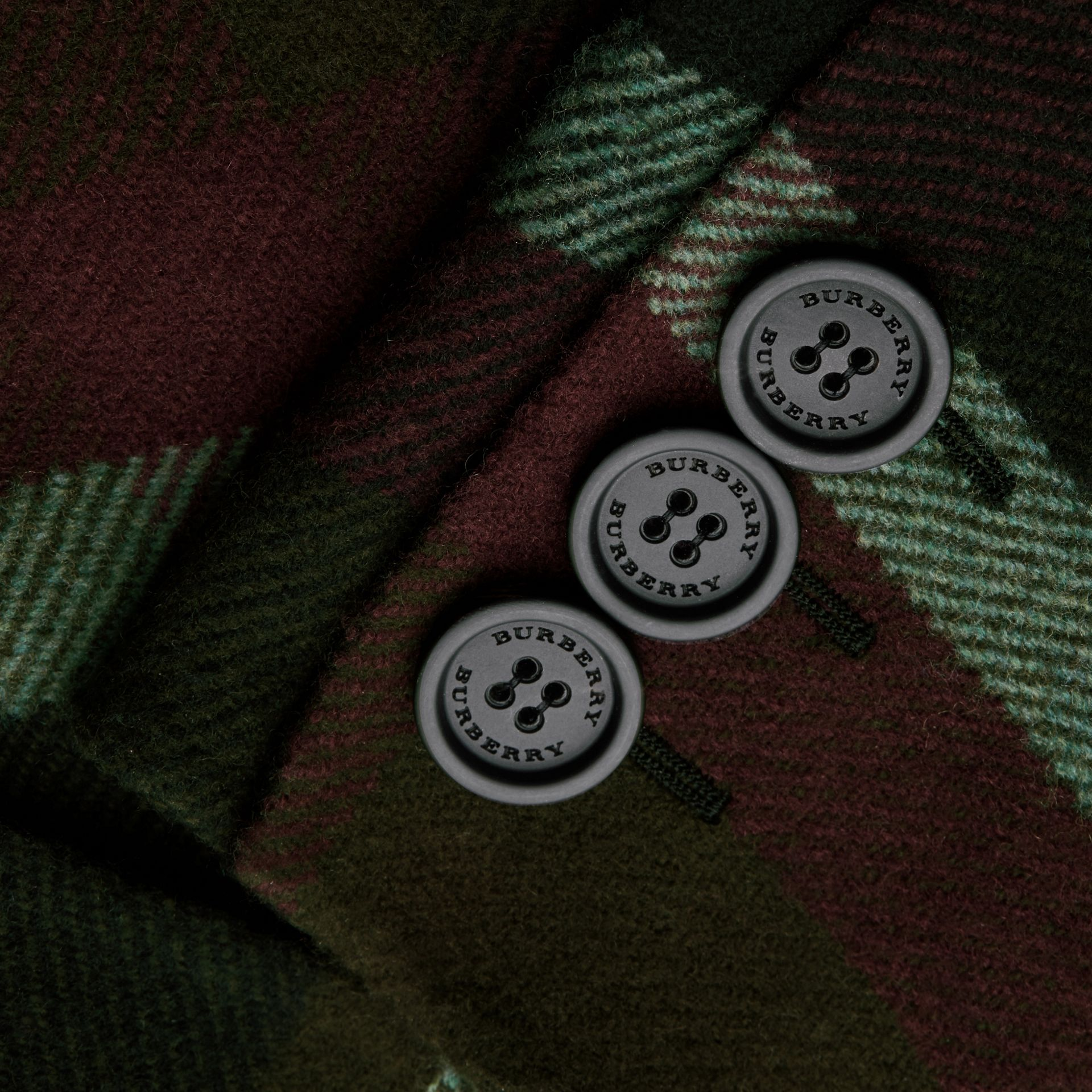 Military green Unlined Tartan Wool Double-breasted Coat - gallery image 2